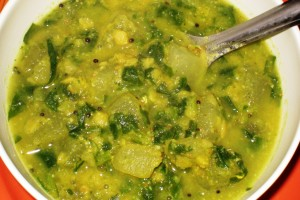 Bottlegourd-Spinach Dal
