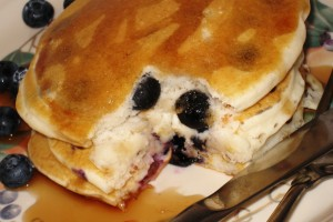 Eggless Blueberry Pancakes
