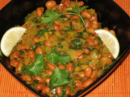 pinto beans-spinach curry