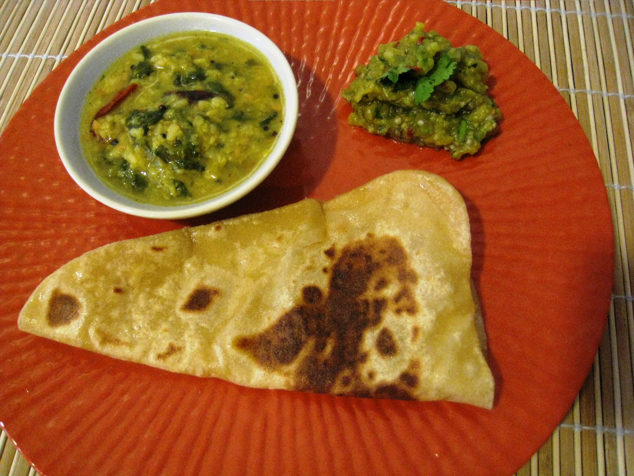 plain paratha with dal and chutney