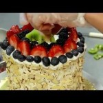 How to Make Watermelon Cake with Whipped Cream Icing and Fresh Fruits