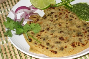 Methi and Red Chori Stuffed Paratha